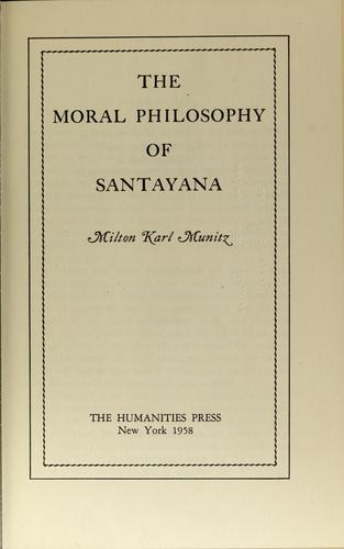 The moral philosophy of Santayana
