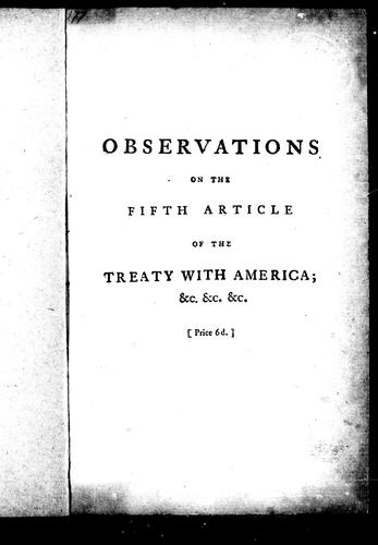 Observations on the fifth article of the treaty with America by Joseph Galloway