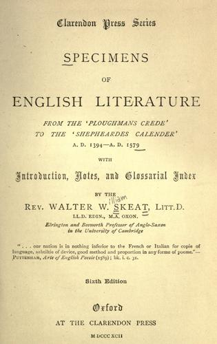 Download Specimens of English literature from the 'Ploughmans crede' to the 'Shepheardes calender,' A.D. 1394-A.D. 1579