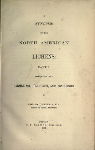 A synopsis of the North American lichens