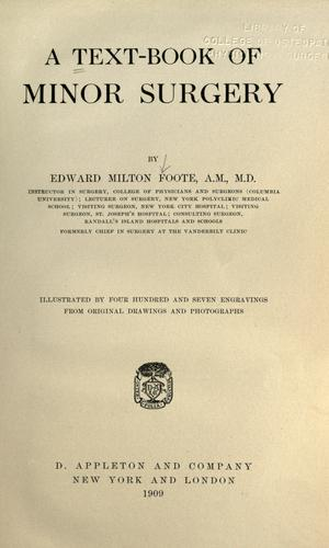 A text-book of minor surgery