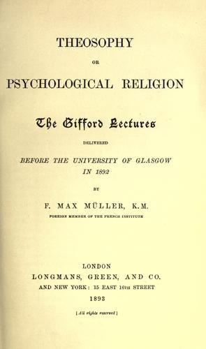 Theosophy; or, Psychological religion