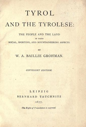 Tyrol and the Tyrolese