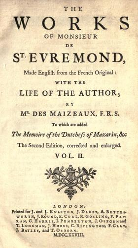 Download The works of Monsieur de St. Evremond