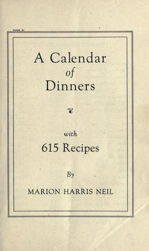A calendar of dinners, with 615 recipes