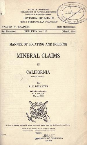 Download Manner of locating and holding mineral claims in California