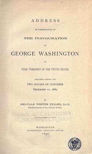 Download Address in commemoration of the inauguration of George Washington as first President of the United States