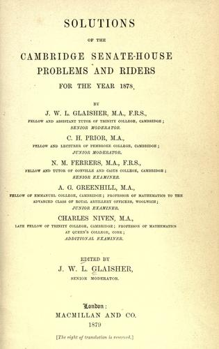 Download Solutions of the Cambridge Senate-house problems and riders for the year 1878
