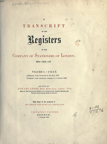 Download A transcript of the registers of the Company of Stationers of London, 1554-1640, A.D.