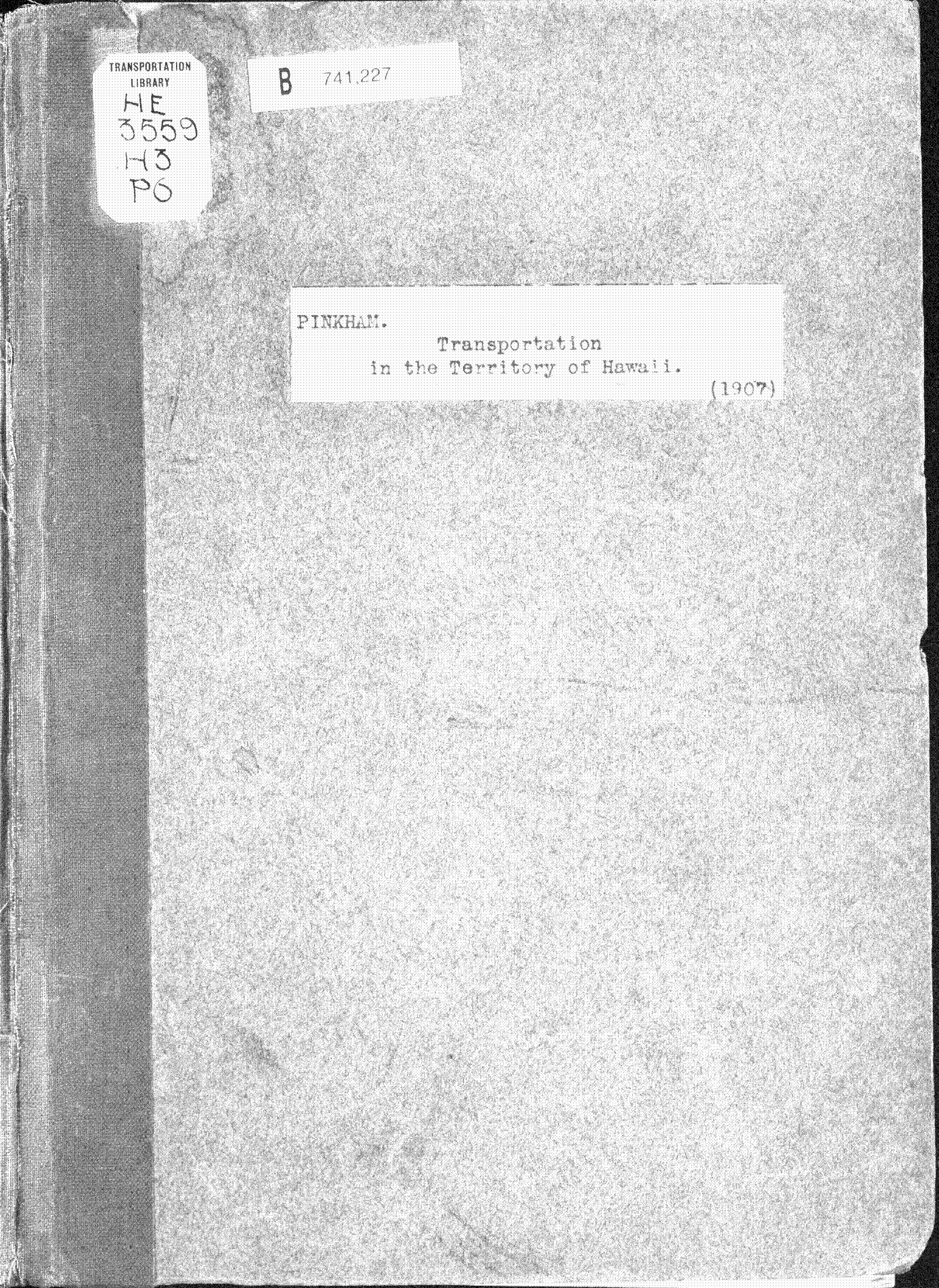 Cover of: Transportation in the territory of Hawaii