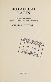 Cover of: Botanical Latin | William T. Stearn