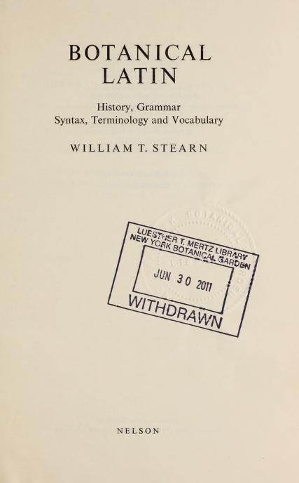 Botanical Latin by William T. Stearn