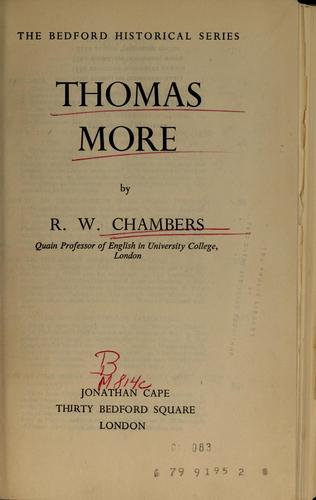 Thomas More by R. W. Chambers