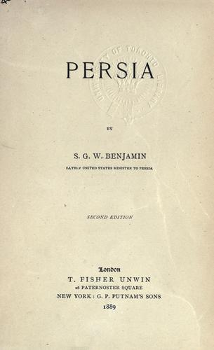 The Story of Persia by Samuel Greene Wheeler Benjamin