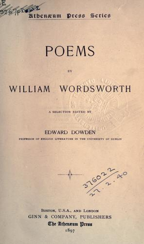 Poems. by William Wordsworth
