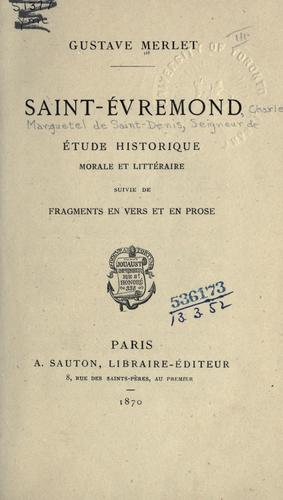Saint-Évremond by Gustave Merlet