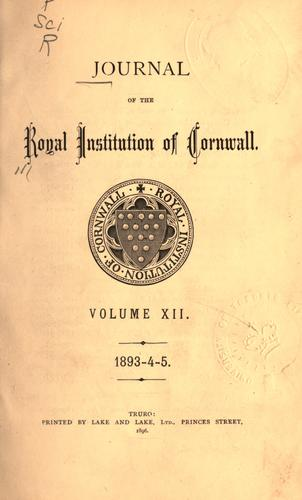 Journal by Royal Institution of Cornwall